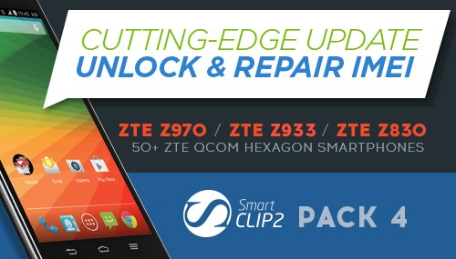 Smart-Clip Pack 4: Unlock and IMEI Repair for ZTE Qualcom Hexagon smartphones