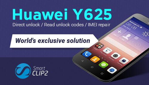 Smart-Clip2: World's exclusive Direct unlock / Read unlock codes / IMEI repair for Huawei Ascend Y625-U13, Y625-U21, Y625-U32, Y625-U43